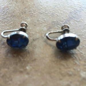 Vintage Sapphire Glass Screwback Earrings
